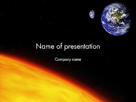 Earth and Sun PowerPoint Template, 12245, Technology and Science — PoweredTemplate.com
