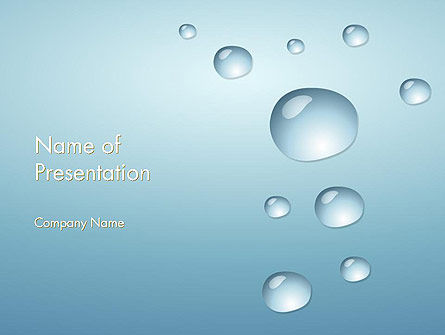 Water Drops on Blue Surface PowerPoint Template, 12248, Abstract/Textures — PoweredTemplate.com