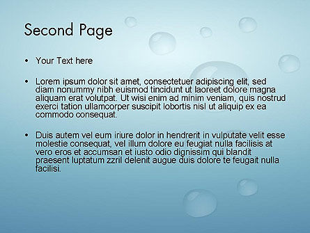 Water Drops on Blue Surface PowerPoint Template Slide 2