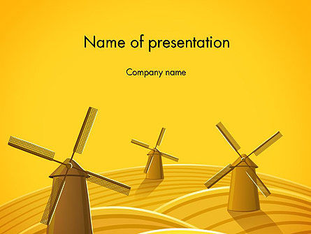 Windmills PowerPoint Template, 12273, Agriculture — PoweredTemplate.com