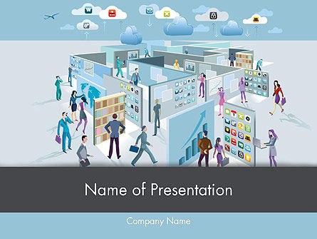 Business Concepts: Mobile Business Applications Maze PowerPoint Template #12277