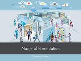 Business Concepts: Mobile geschäftsanwendungen labyrinth PowerPoint Vorlage #12277