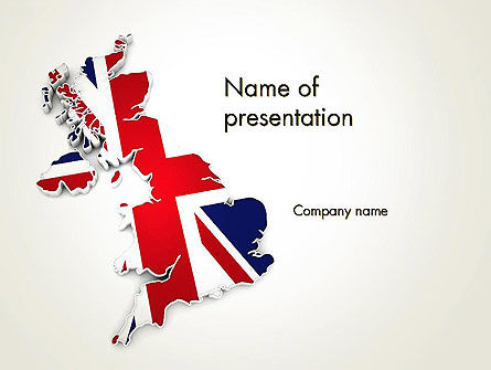 Great Britain Flag Map PowerPoint Template, 12280, Flags/International — PoweredTemplate.com