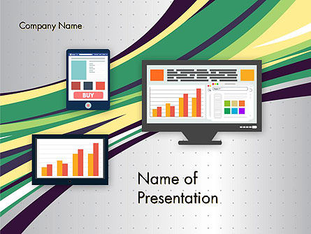 Stock Exchange Theme in Flat Design PowerPoint Template, 12285, Financial/Accounting — PoweredTemplate.com