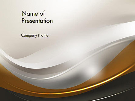 Abstract Silver Gold and Bronze Waves PowerPoint Template, 12291, Abstract/Textures — PoweredTemplate.com