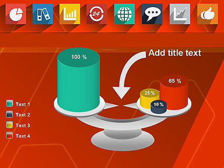Flat Icons on Red Background PowerPoint Template Slide 10