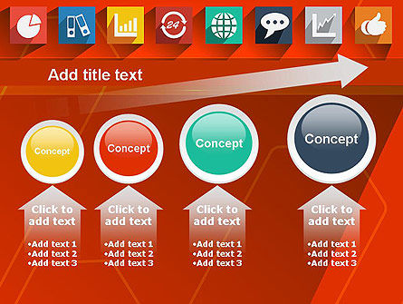 Flat Icons on Red Background PowerPoint Template Slide 13