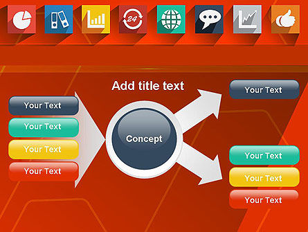 Flat Icons on Red Background PowerPoint Template Slide 14