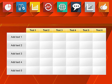 Flat Icons on Red Background PowerPoint Template Slide 15