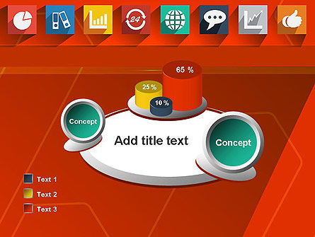 Flat Icons on Red Background PowerPoint Template Slide 16