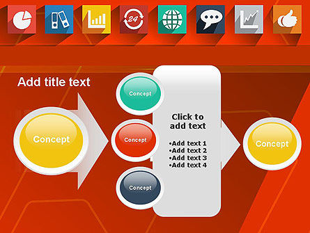 Flat Icons on Red Background PowerPoint Template Slide 17
