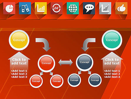 Flat Icons on Red Background PowerPoint Template Slide 19