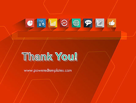 Flat Icons on Red Background PowerPoint Template Slide 20