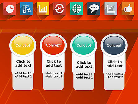 Flat Icons on Red Background PowerPoint Template Slide 5