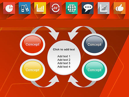 Flat Icons on Red Background PowerPoint Template Slide 6