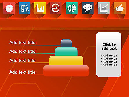 Flat Icons on Red Background PowerPoint Template Slide 8