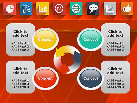 Flat Icons on Red Background PowerPoint Template Slide 9