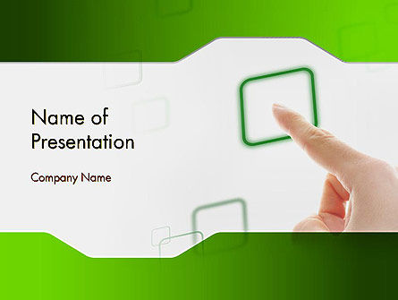 Business Concepts: Hand Touching a Button PowerPoint Template #12318