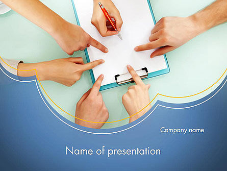 Business Hands Working with Document PowerPoint Template
