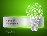Careers/Industry: Creative Light Bulb with Icons PowerPoint Template #12345