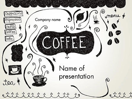 doodle for google template - coffee doodles powerpoint template backgrounds 12366