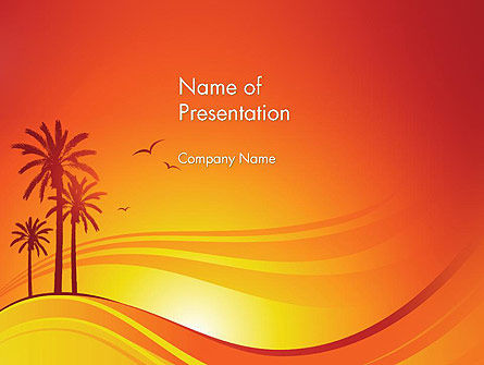 Nature & Environment: Palms on Sunset PowerPoint Template #12378