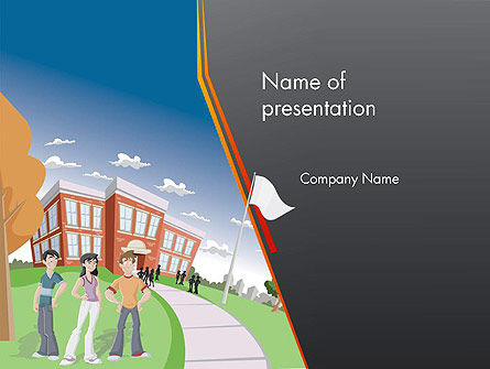 High School Building and Students PowerPoint Template, 12409, Education & Training — PoweredTemplate.com