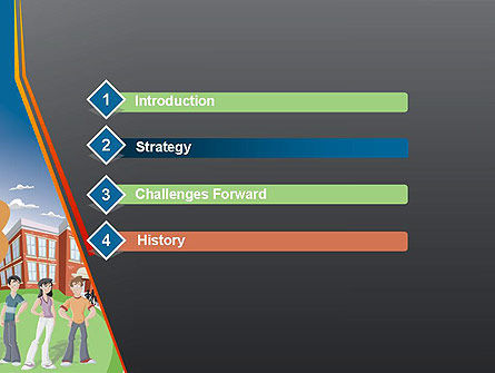 High School Building and Students PowerPoint Template, Slide 3, 12409, Education & Training — PoweredTemplate.com