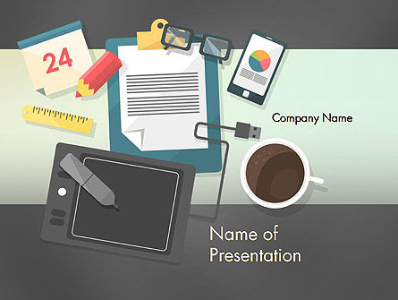 Business: Workspace Top View PowerPoint Template #12410