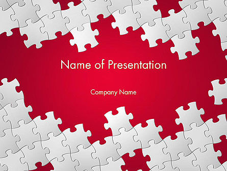Red Puzzle Background Powerpoint Template Backgrounds
