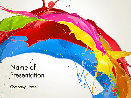 Colorful Paint Splash PowerPoint Template, 12417, Abstract/Textures — PoweredTemplate.com