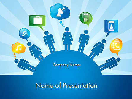 Colorful Social Media Concept PowerPoint Template, 12428, Careers/Industry — PoweredTemplate.com