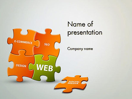 Puzzle with Internet Words PowerPoint Template