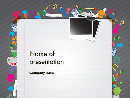 School Supplies PowerPoint Template, 12437, Education & Training — PoweredTemplate.com