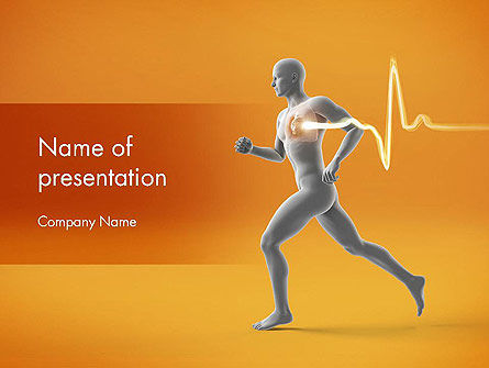 Medical: Jogging and Heartbeat PowerPoint Template #12441