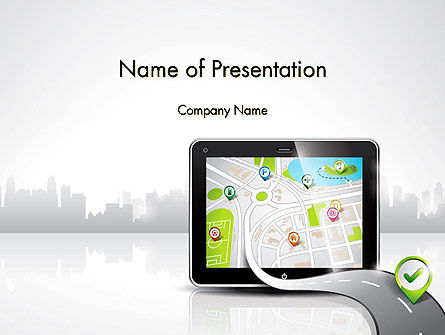 Technology and Science: Navigation Map on Touch Pad PowerPoint Template #12454