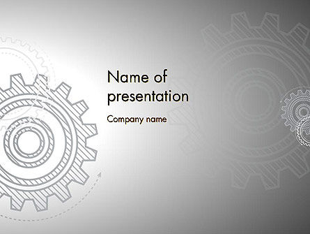 Mechanical Gears Draft Powerpoint Template Backgrounds 12472