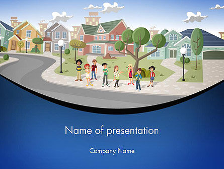Teenager Students in The Street PowerPoint Template, 12483, People — PoweredTemplate.com