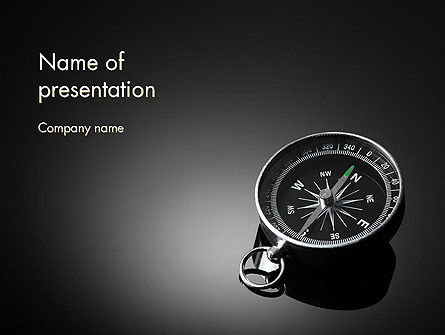 Business Concepts: Black and White Compass PowerPoint Template #12495