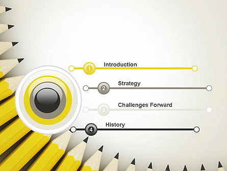 Pencils Arranged in Semicircle PowerPoint Template Slide 3
