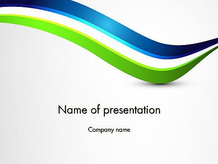 Green and Blue Waves PowerPoint Template, 12507, Abstract/Textures — PoweredTemplate.com