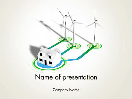 Technology and Science: Wind Turbines Powering House PowerPoint Template #12518