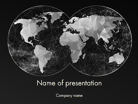 Polygonal World Map PowerPoint Template, 12524, Global — PoweredTemplate.com