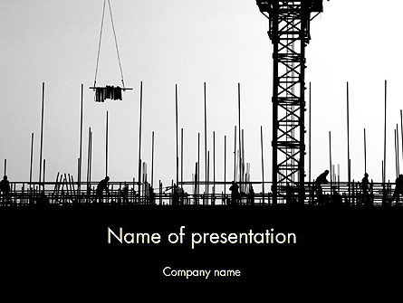 Construction: Construction Workers Silhouettes PowerPoint Template #12527