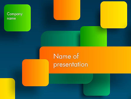 Abstract Flying Colorful Squares PowerPoint Template