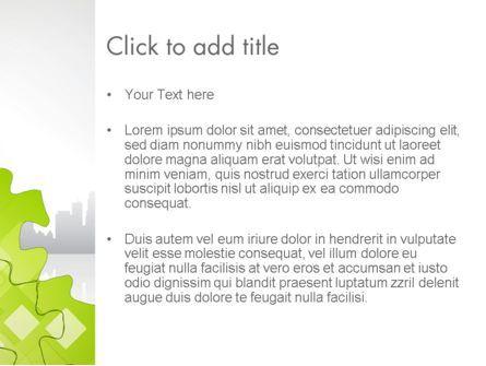 Puzzle Pieces on City Background PowerPoint Template, Slide 3, 12552, Business Concepts — PoweredTemplate.com