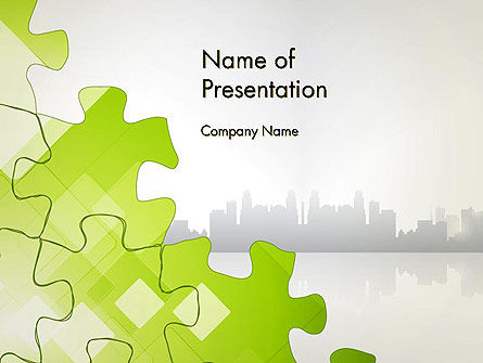 Puzzle Pieces on City Background PowerPoint Template