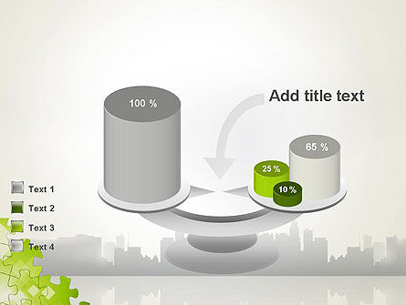 Puzzle Pieces on City Background PowerPoint Template Slide 10