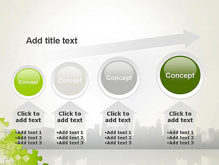 Puzzle Pieces on City Background PowerPoint Template Slide 13