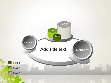 Puzzle Pieces on City Background PowerPoint Template Slide 16